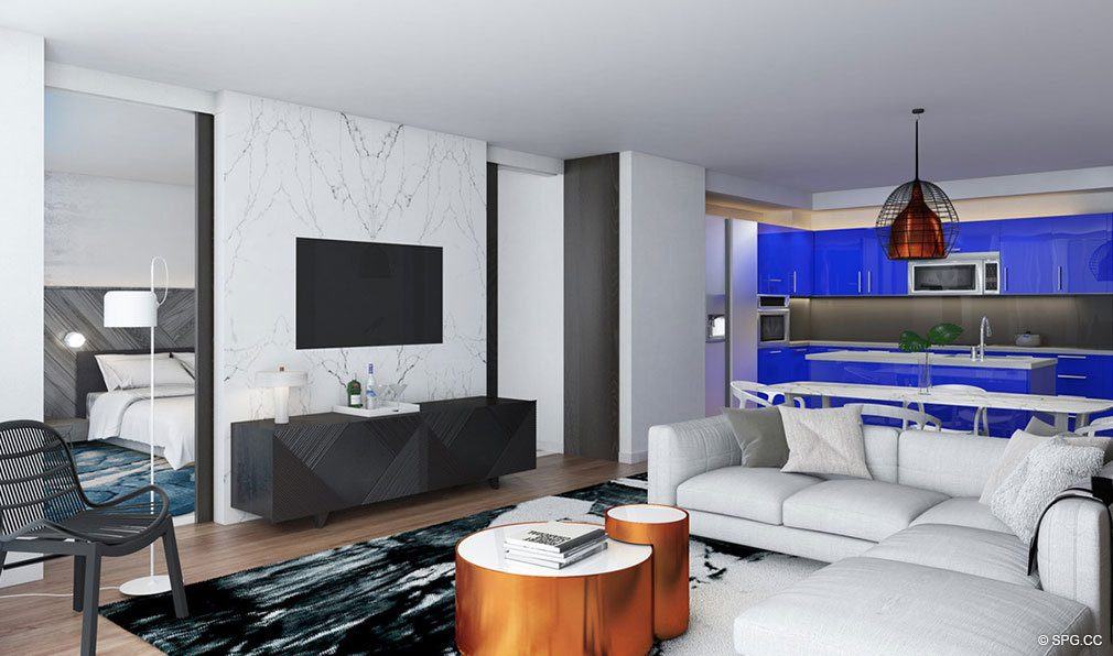 Living Room Layout in The W Fort Lauderdale, Luxury Oceanfront Condos in Fort Lauderdale, 33304