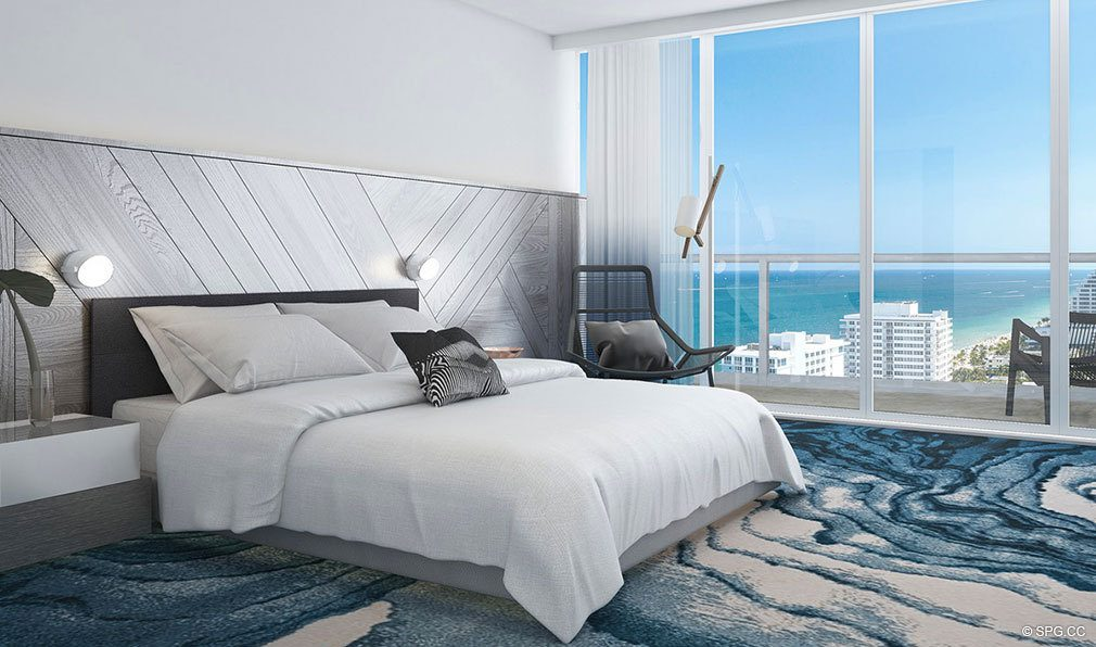 Bedroom inside The W Fort Lauderdale, Luxury Oceanfront Condos in Fort Lauderdale, 33304