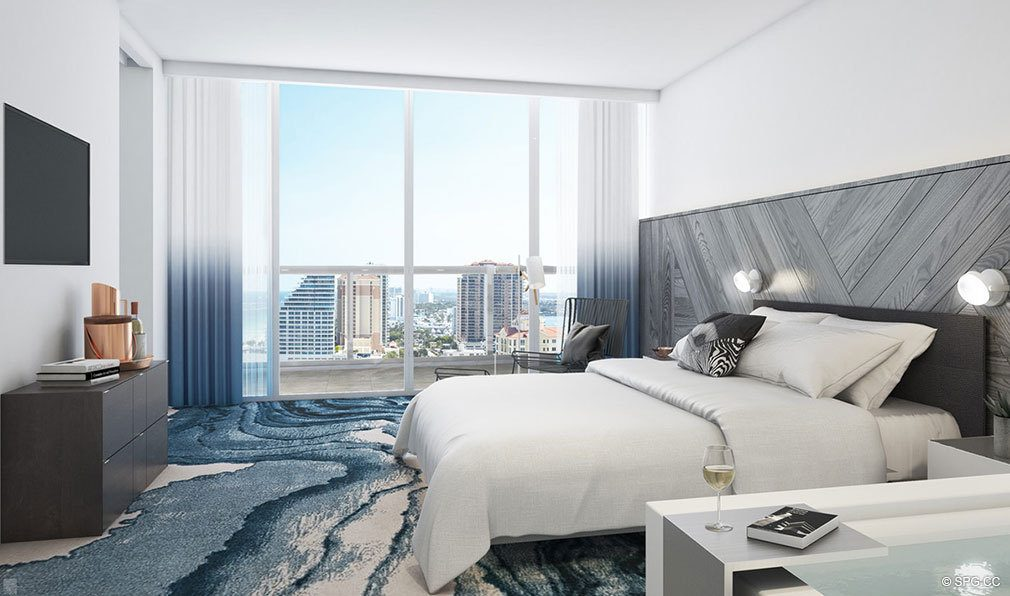 Bedroom at The W Fort Lauderdale, Luxury Oceanfront Condos in Fort Lauderdale, 33304