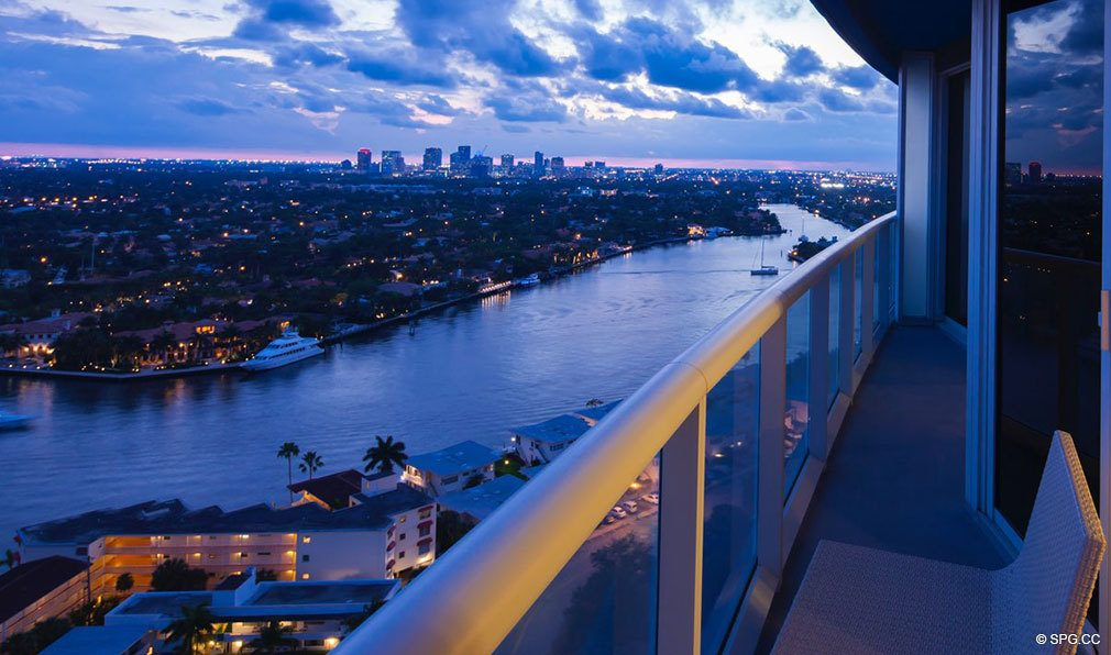 Sunset Terrace View from The W Fort Lauderdale, Luxury Oceanfront Condos in Fort Lauderdale, 33304