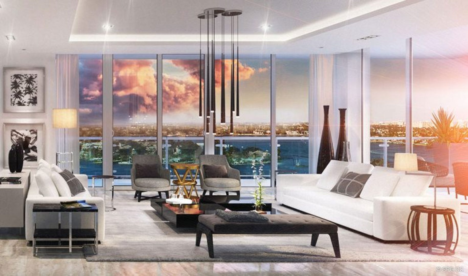 Living Room Design for 33 Intracoastal, Luxury Waterfront Condominiums in Fort Lauderdale, Florida 33306