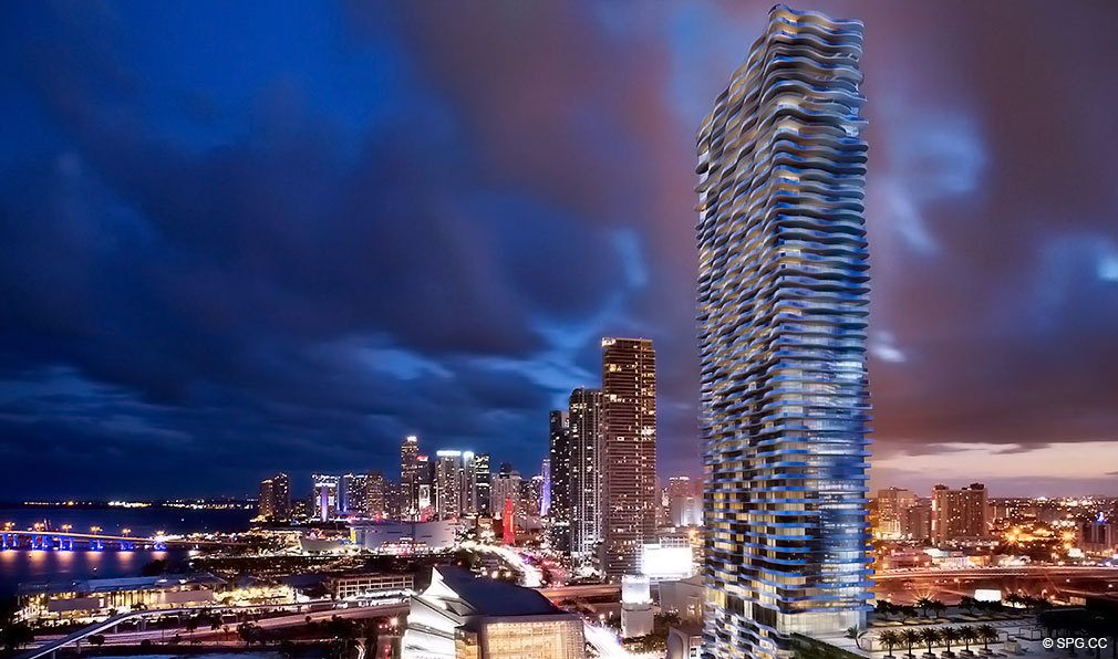 Evening View of Auberge Residences and Spa Miami, Luxury Seaside Condos in Miami, Florida 33132.