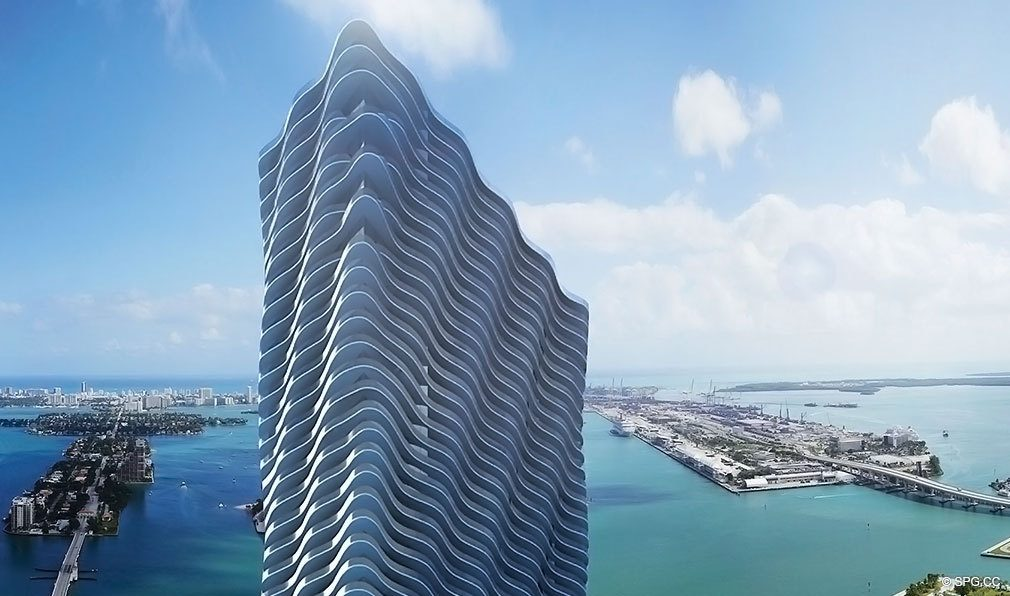 Soaring Above Miami Skyline is Auberge Residences and Spa Miami, Luxury Seaside Condos in Miami, Florida 33132.