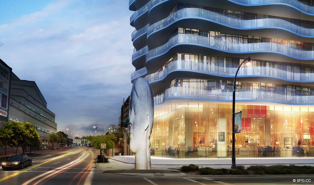 Biscayne Street View of Auberge Residences and Spa Miami, Luxury Seaside Condos in Miami, Florida 33132.
