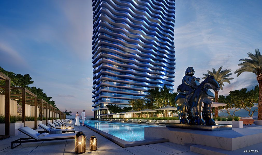 Pool Deck for Auberge Residences and Spa Miami, Luxury Seaside Condos in Miami, Florida 33132.