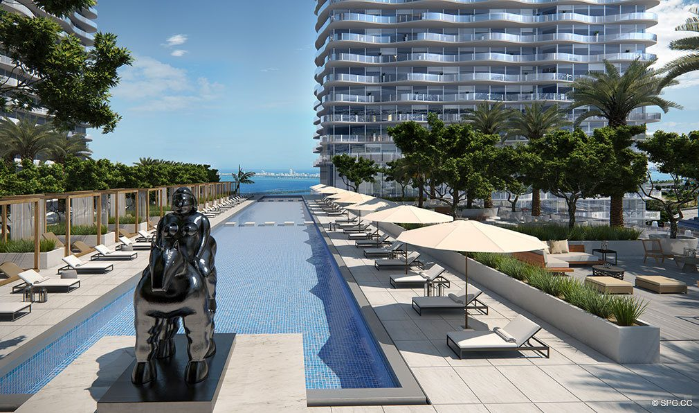 Daytime Pool Deck at Auberge Residences and Spa Miami, Luxury Seaside Condos in Miami, Florida 33132.