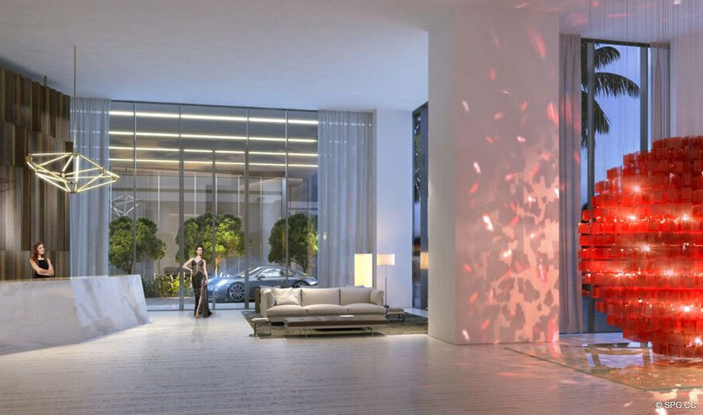 Lobby inside Auberge Residences and Spa Miami, Luxury Seaside Condos in Miami, Florida 33132.