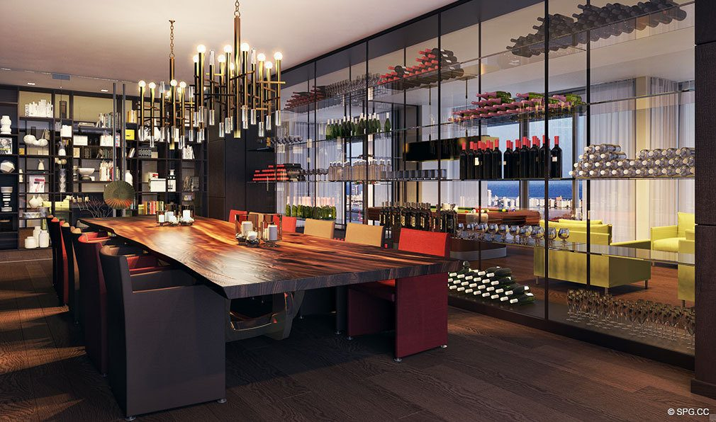 Wine Room at Auberge Residences and Spa Miami, Luxury Seaside Condos in Miami, Florida 33132.