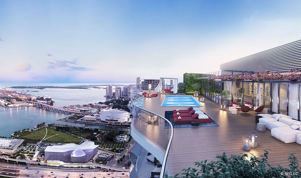 Rooftop of Auberge Residences and Spa Miami, Luxury Seaside Condos in Miami, Florida 33132.
