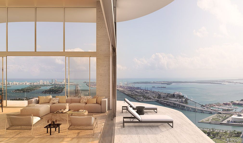 Terrace View from Auberge Residences and Spa Miami, Luxury Seaside Condos in Miami, Florida 33132.