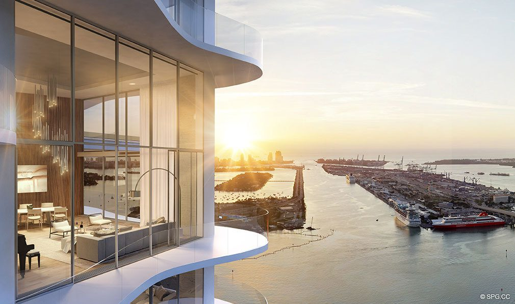 Penthouse View from Auberge Residences and Spa Miami, Luxury Seaside Condos in Miami, Florida 33132.