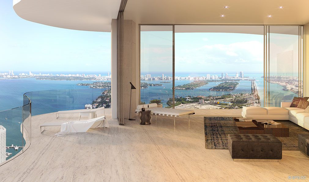 Penthouse Balcony View at Auberge Residences and Spa Miami, Luxury Seaside Condos in Miami, Florida 33132.