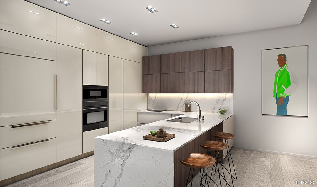 Designer Gourmet Kitchen inside Auberge Residences and Spa Miami, Luxury Seaside Condos in Miami, Florida 33132.