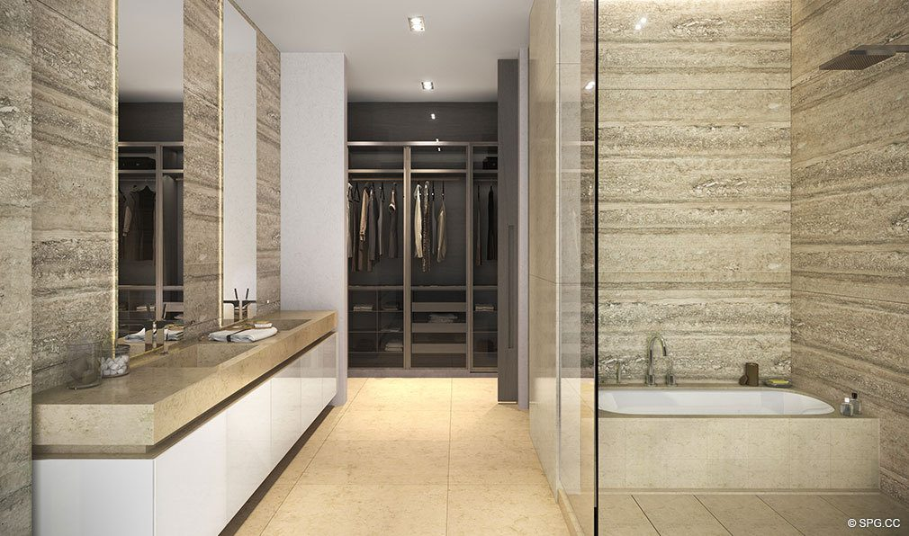 Bathroom Design inside Auberge Residences and Spa Miami, Luxury Seaside Condos in Miami, Florida 33132.