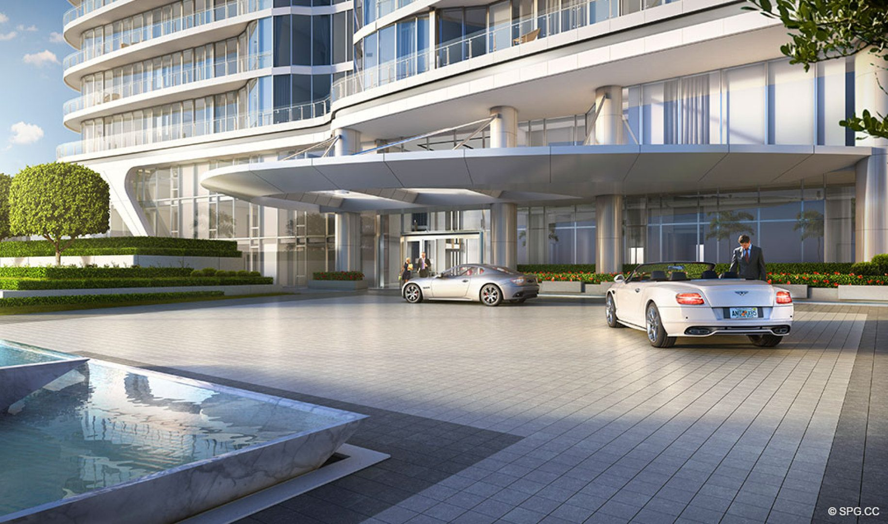 Port Cochere at The Bristol, Luxury Waterfront Condos in West Palm Beach, Florida 33401