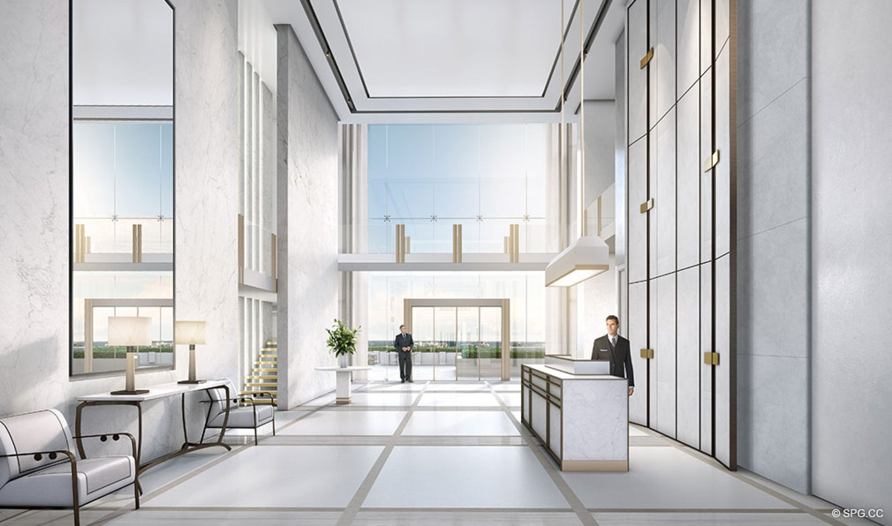 Main Lobby inside The Bristol, Luxury Waterfront Condos in West Palm Beach, Florida 33401