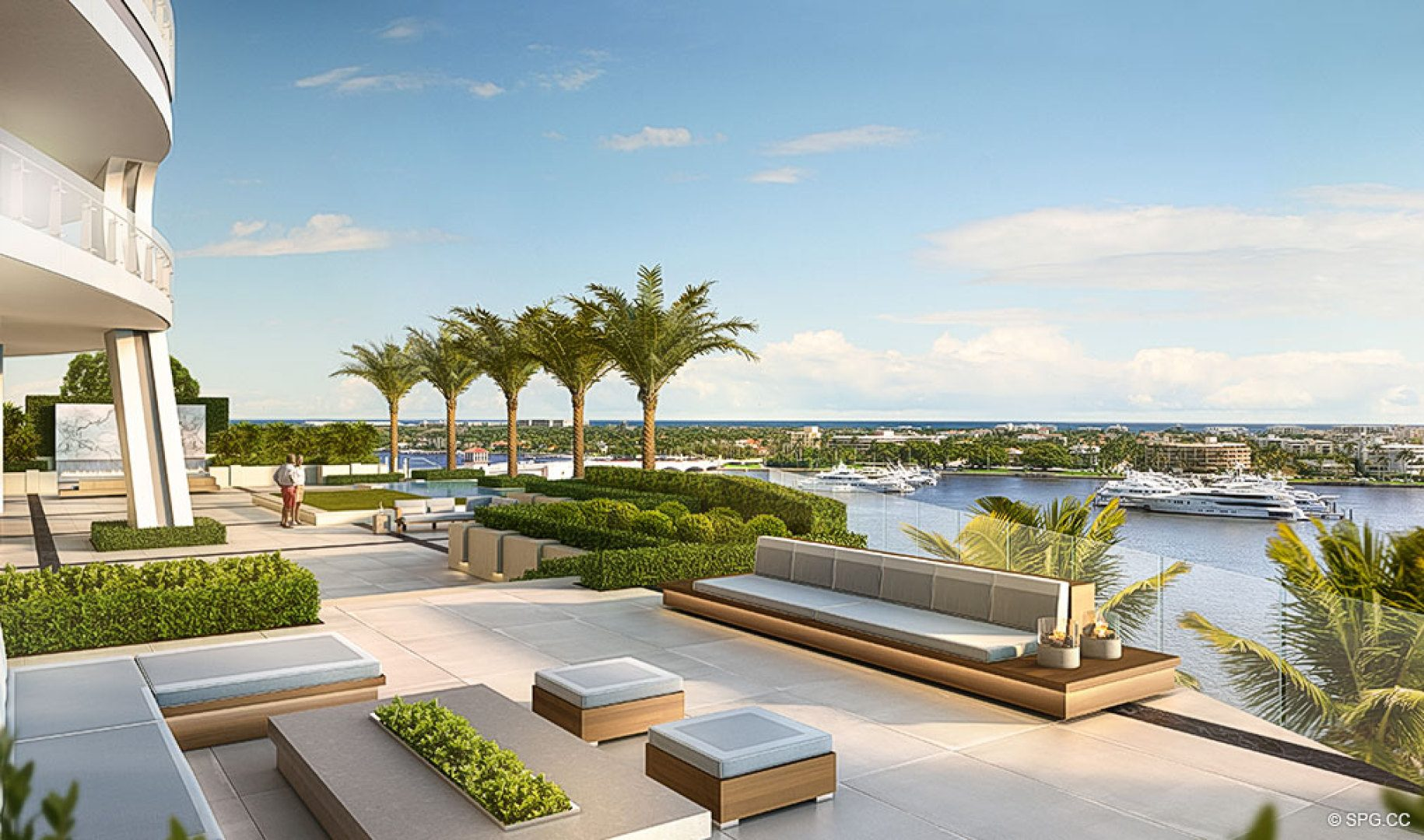 Amenity Terrace View from The Bristol, Luxury Waterfront Condos in West Palm Beach, Florida 33401