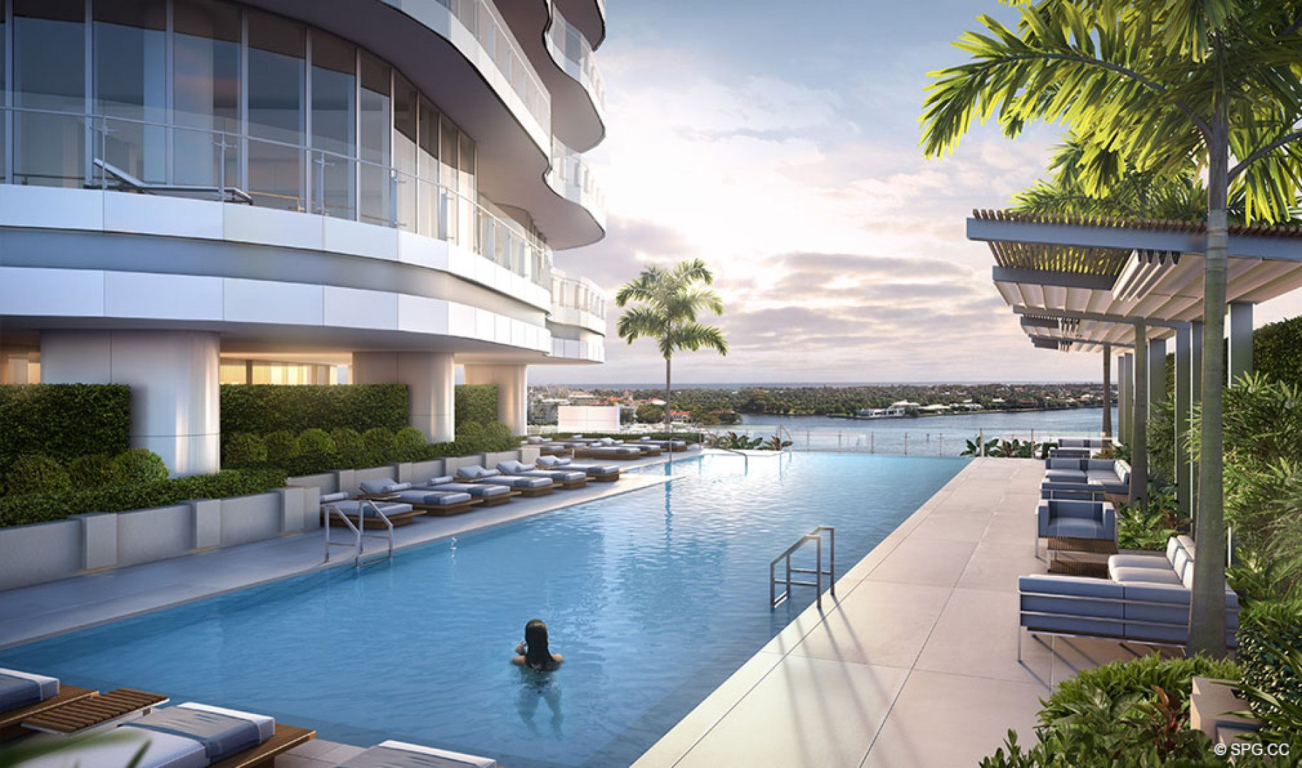 Pool Area at The Bristol, Luxury Waterfront Condos in West Palm Beach, Florida 33401