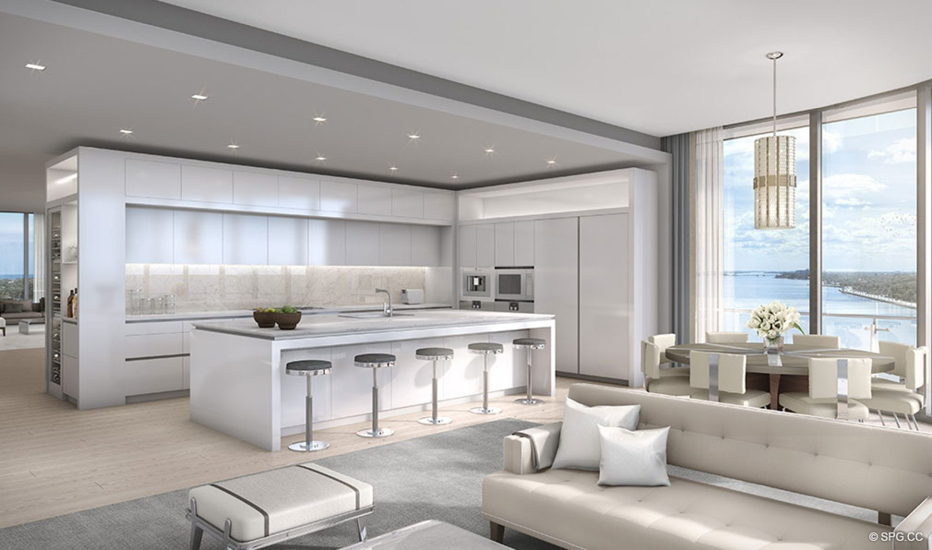 Open Kitchen Concept at The Bristol, Luxury Waterfront Condos in West Palm Beach, Florida 33401
