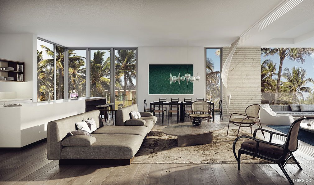 Living Room Rendering for Louver House, Luxury Seaside Condos in Miami Beach, Florida 33139