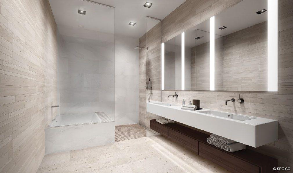 Bath Renderong for Louver House, Luxury Seaside Condos in Miami Beach, Florida 33139