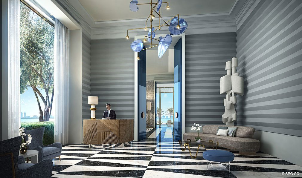 Lobby at Elysee, Luxury Waterfront Condos in Miami, Florida 33137