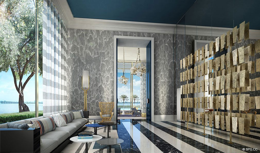 Lavish Social Spaces at Elysee, Luxury Waterfront Condos in Miami, Florida 33137