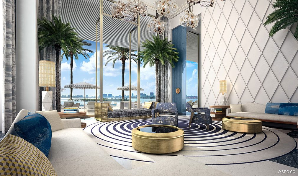 Club Room inside Elysee, Luxury Waterfront Condos in Miami, Florida 33137