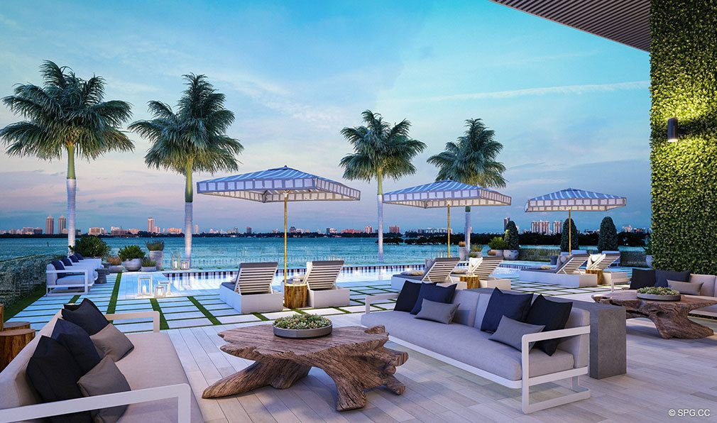 Pool Area Sunsets at Elysee, Luxury Waterfront Condos in Miami, Florida 33137