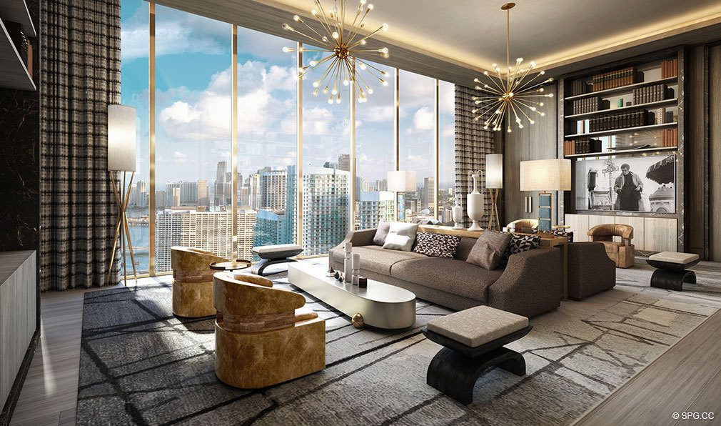 Living Room Design in Elysee, Luxury Waterfront Condos in Miami, Florida 33137