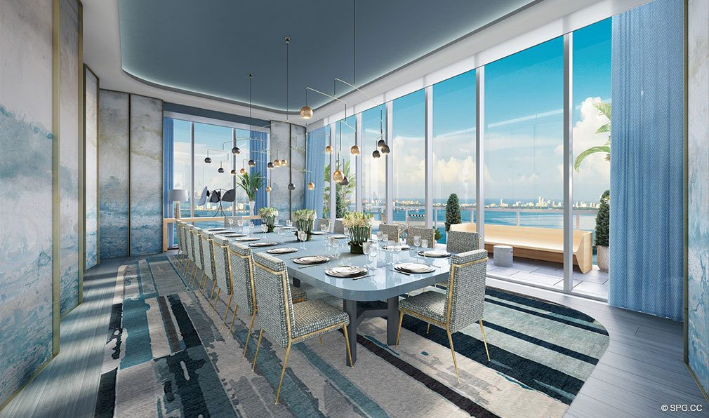Dining Room inside Elysee, Luxury Waterfront Condos in Miami, Florida 33137