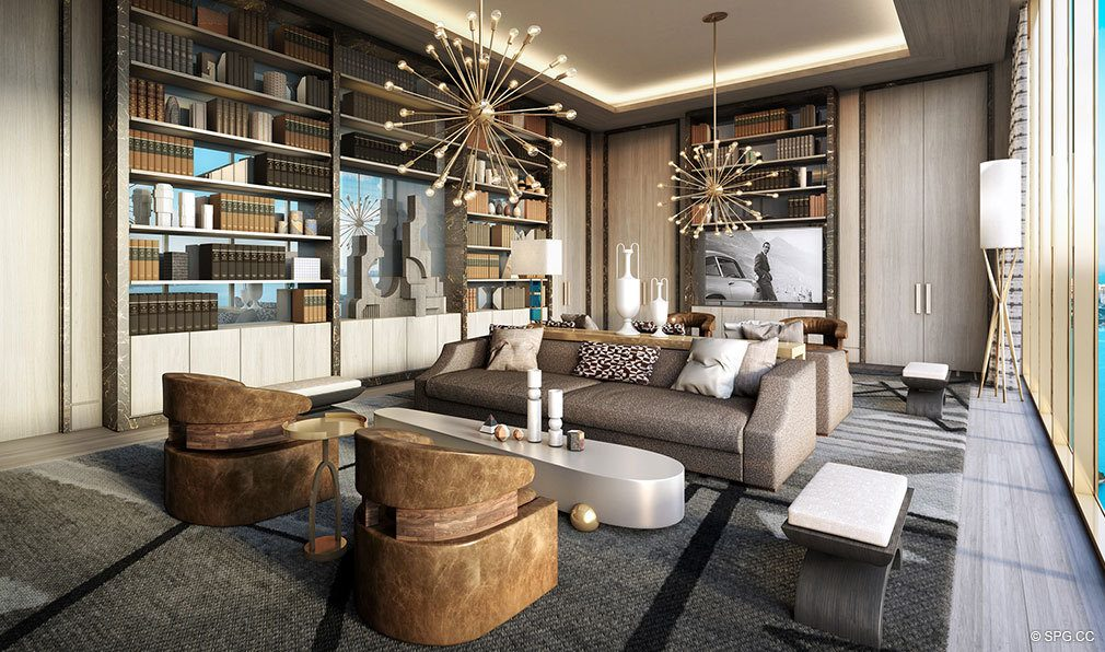 Living Room Layout at Elysee, Luxury Waterfront Condos in Miami, Florida 33137
