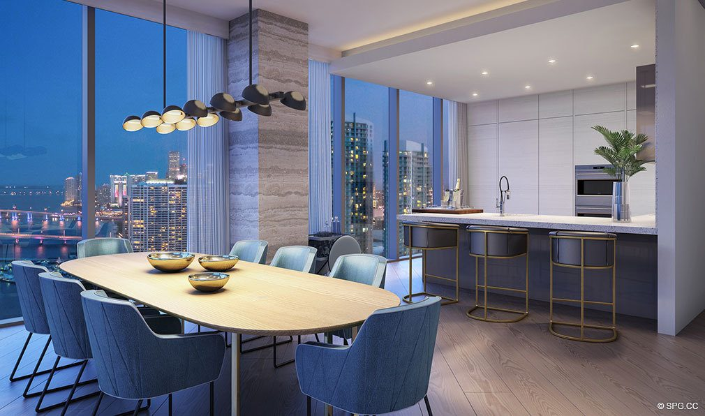 Dining Area and Kitchen in Elysee, Luxury Waterfront Condos in Miami, Florida 33137