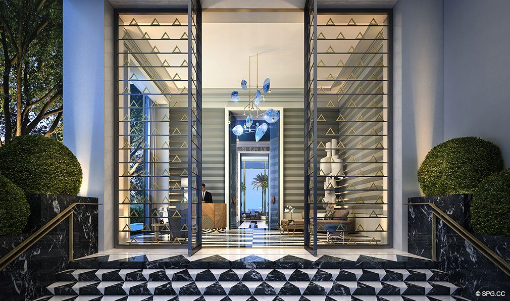 Entrance into Elysee, Luxury Waterfront Condos in Miami, Florida 33137