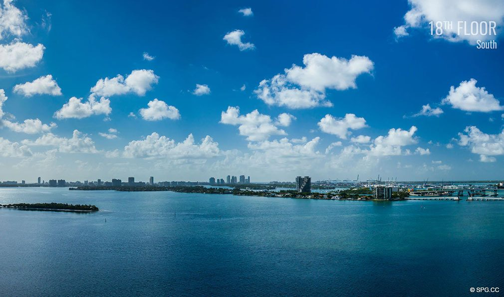 Eighteenth Floor South View from Elysee, Luxury Waterfront Condos in Miami, Florida 33137