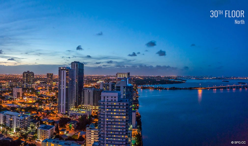 Thirtieth Floor Northwest View from Elysee, Luxury Waterfront Condos in Miami, Florida 33137
