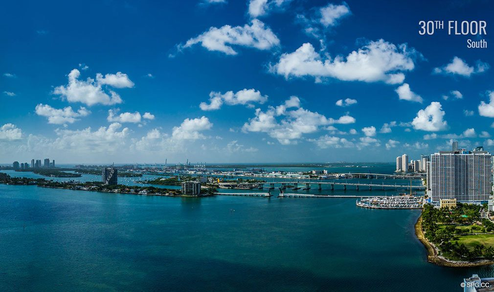Thirtieth Floor South View from Elysee, Luxury Waterfront Condos in Miami, Florida 33137