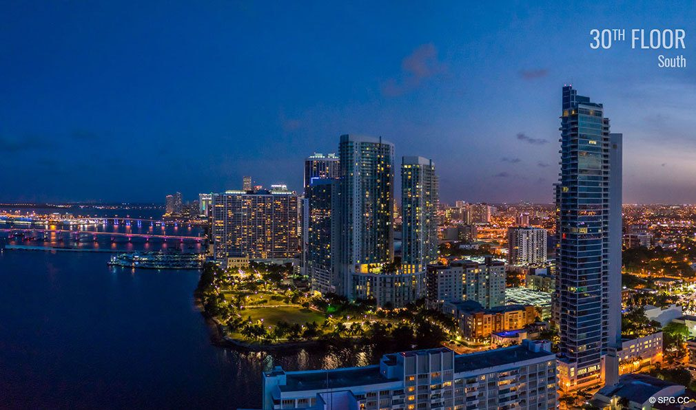 Thirtieth Floor Southwest View from Elysee, Luxury Waterfront Condos in Miami, Florida 33137