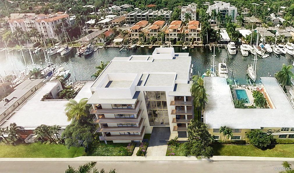 Aerial View of AquaVue Las Olas, Luxury Waterfront Condos in Fort Lauderdale, Florida 33301