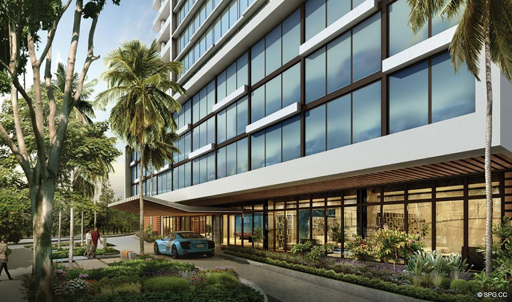 Port Cochere at AquaBlu, Luxury Waterfront Condos in Fort Lauderdale, Florida 33304