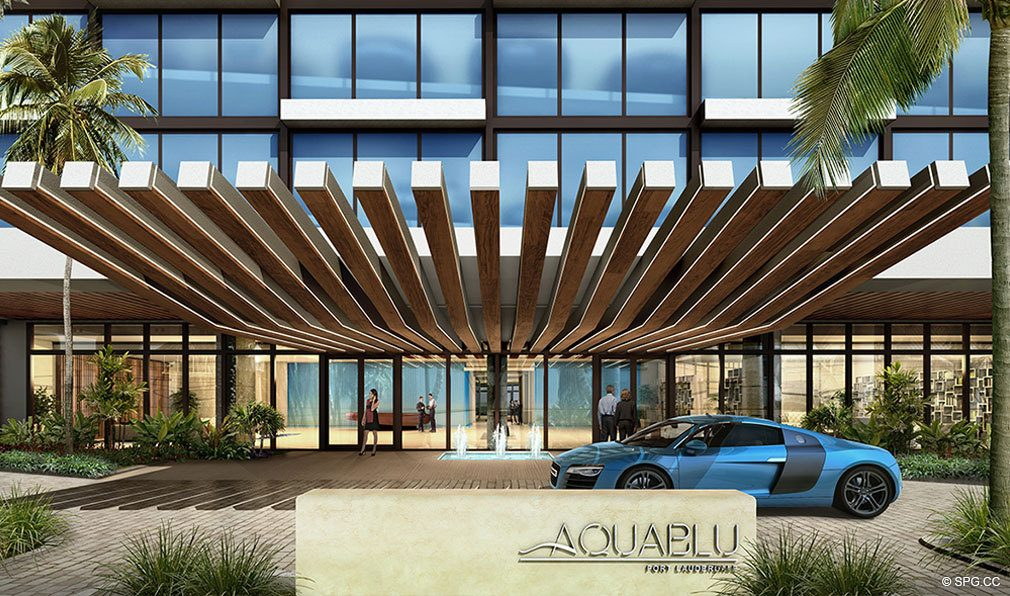 Main Entrance to AquaBlu, Luxury Waterfront Condos in Fort Lauderdale, Florida 33304