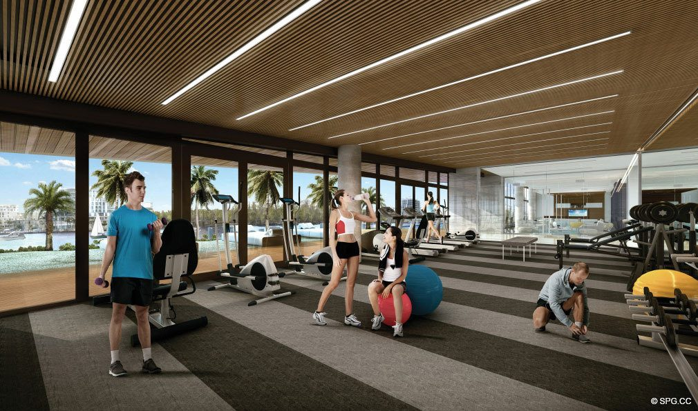 Fitness Center at AquaBlu, Luxury Waterfront Condos in Fort Lauderdale, Florida 33304