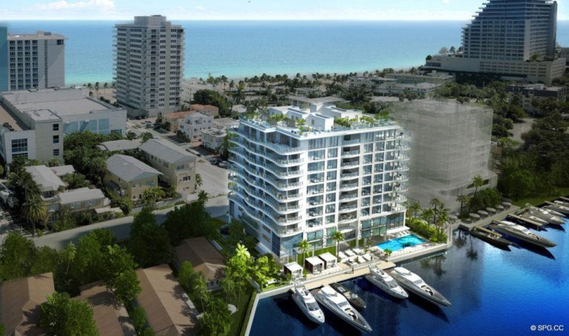 Aerial View of 321 at Water's Edge, Luxury Waterfront Condos in Fort Lauderdale, Florida 33304