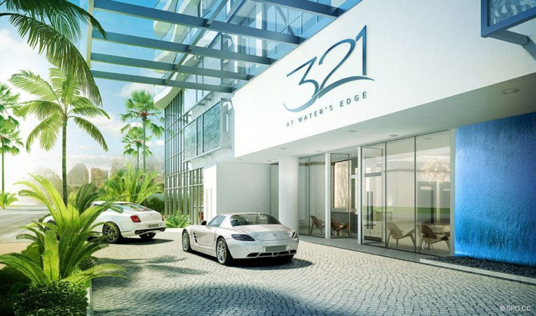 Entrance into 321 at Water's Edge, Luxury Waterfront Condos in Fort Lauderdale, Florida 33304