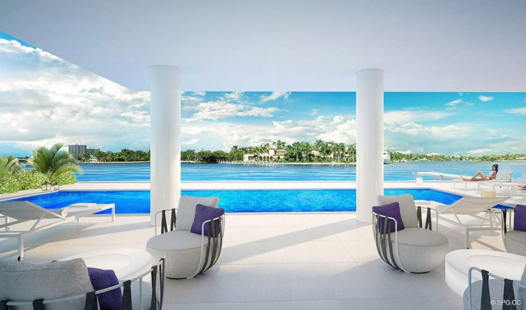 Intracoastal Pool Area at 321 at Water's Edge, Luxury Waterfront Condos in Fort Lauderdale, Florida 33304