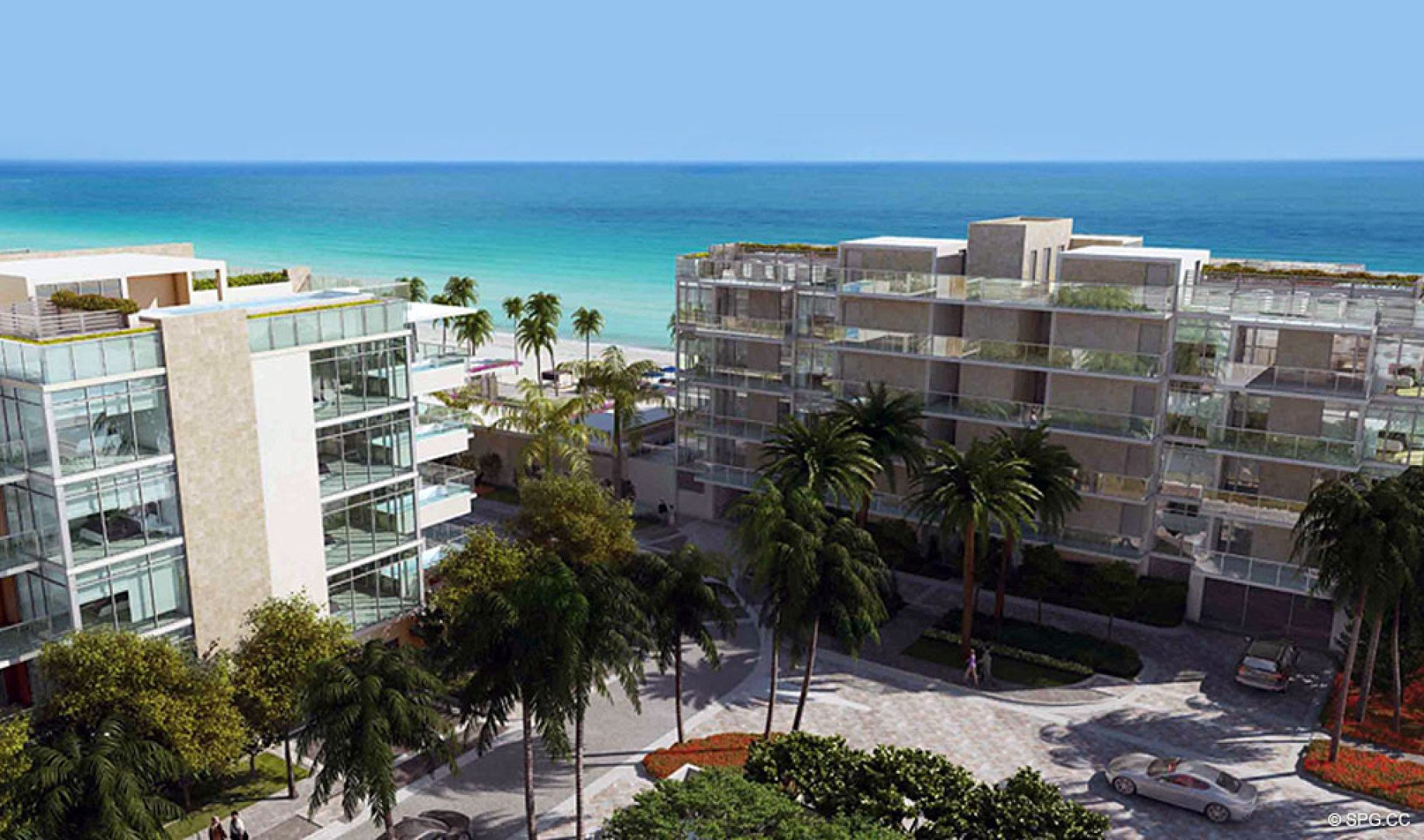 The Two Low-Rise Buildings of Sage Beach, Luxury Oceanfront Condos in Hollywood Beach Florida 33019