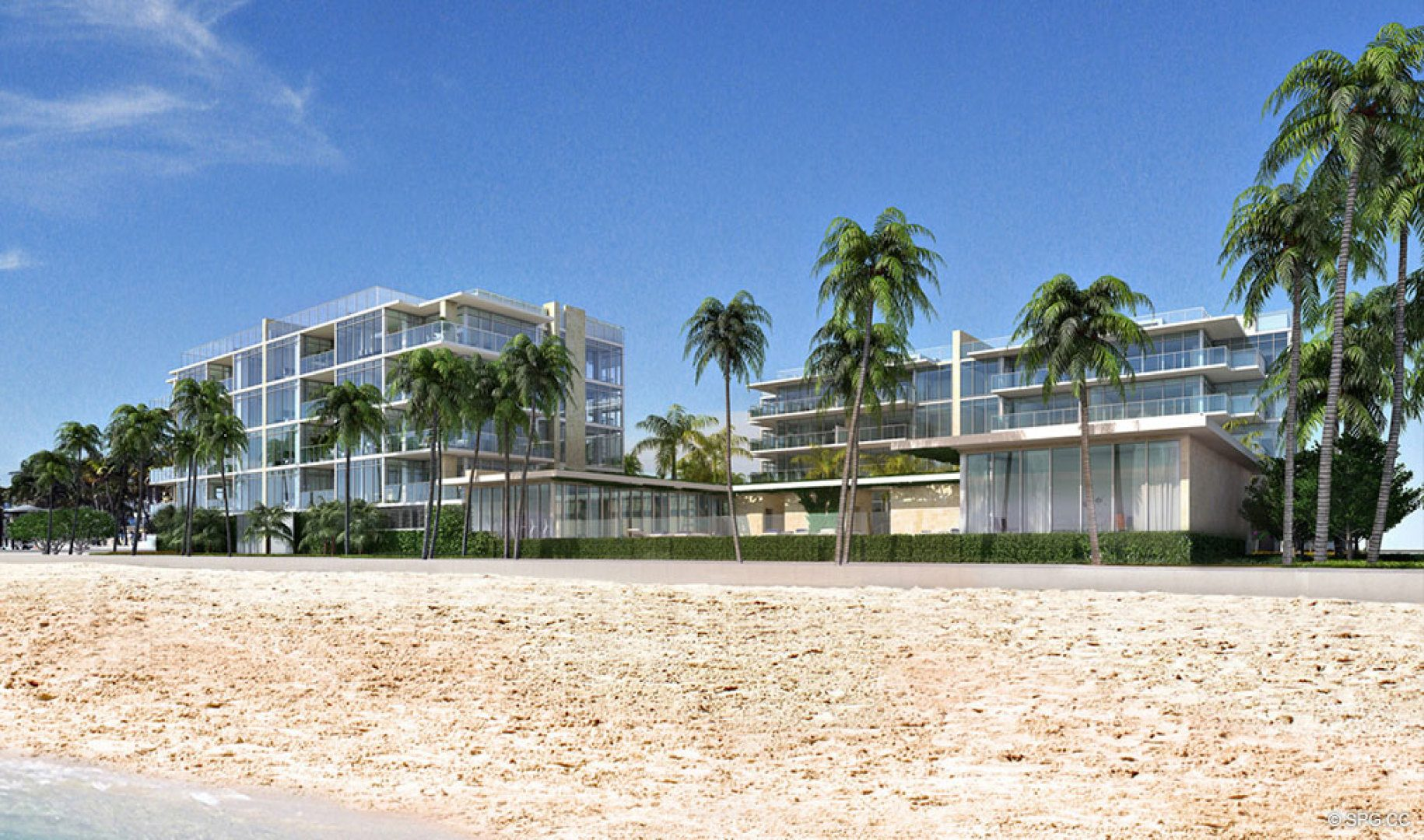 View from the Sand of Sage Beach, Luxury Oceanfront Condos in Hollywood Beach Florida 33019