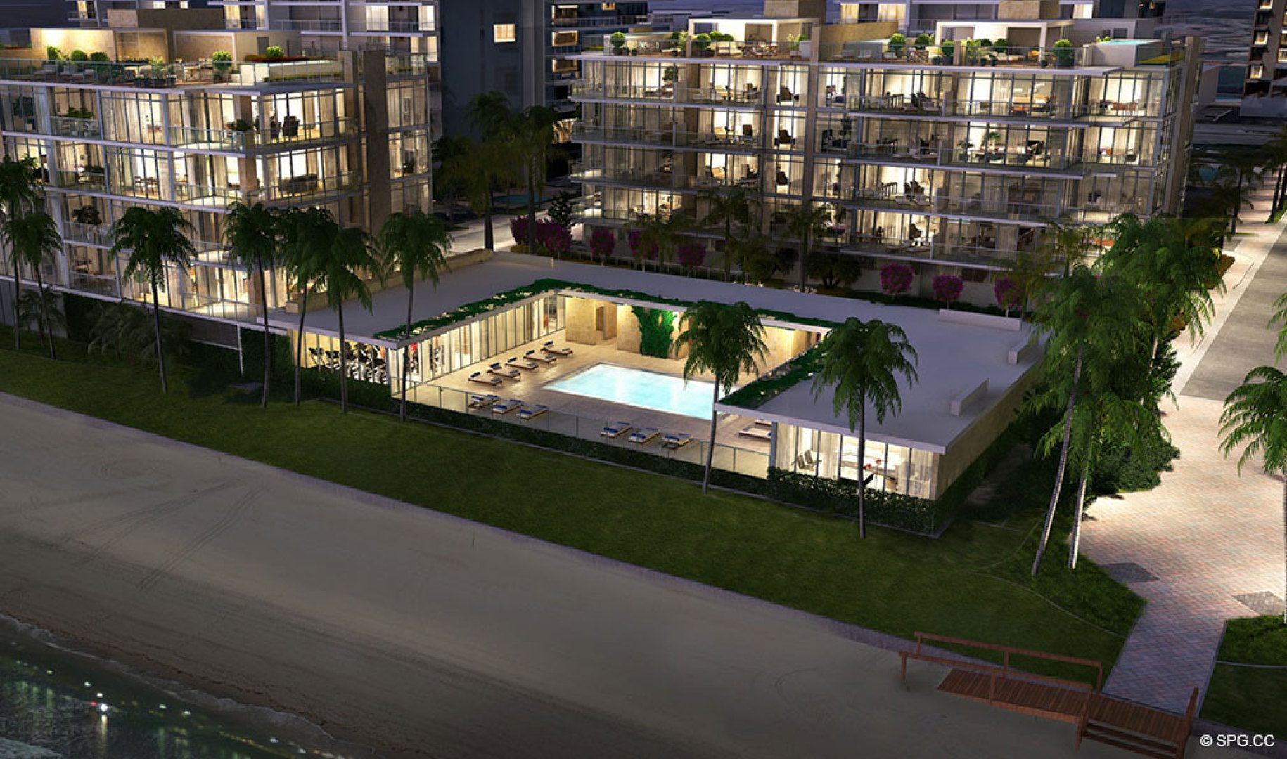 Evening Shot of the Pool Area at Sage Beach, Luxury Oceanfront Condos in Hollywood Beach Florida 33019
