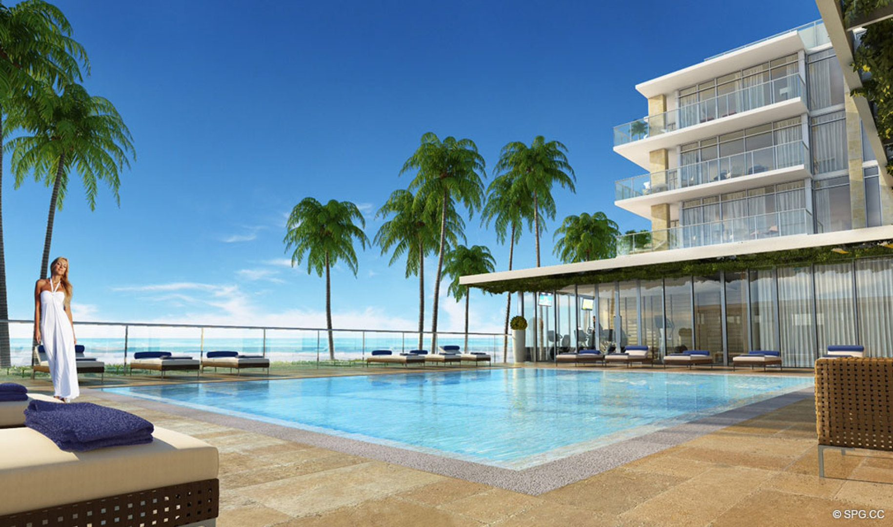 The Beachfront Pool Deck at Sage Beach, Luxury Oceanfront Condos in Hollywood Beach Florida 33019