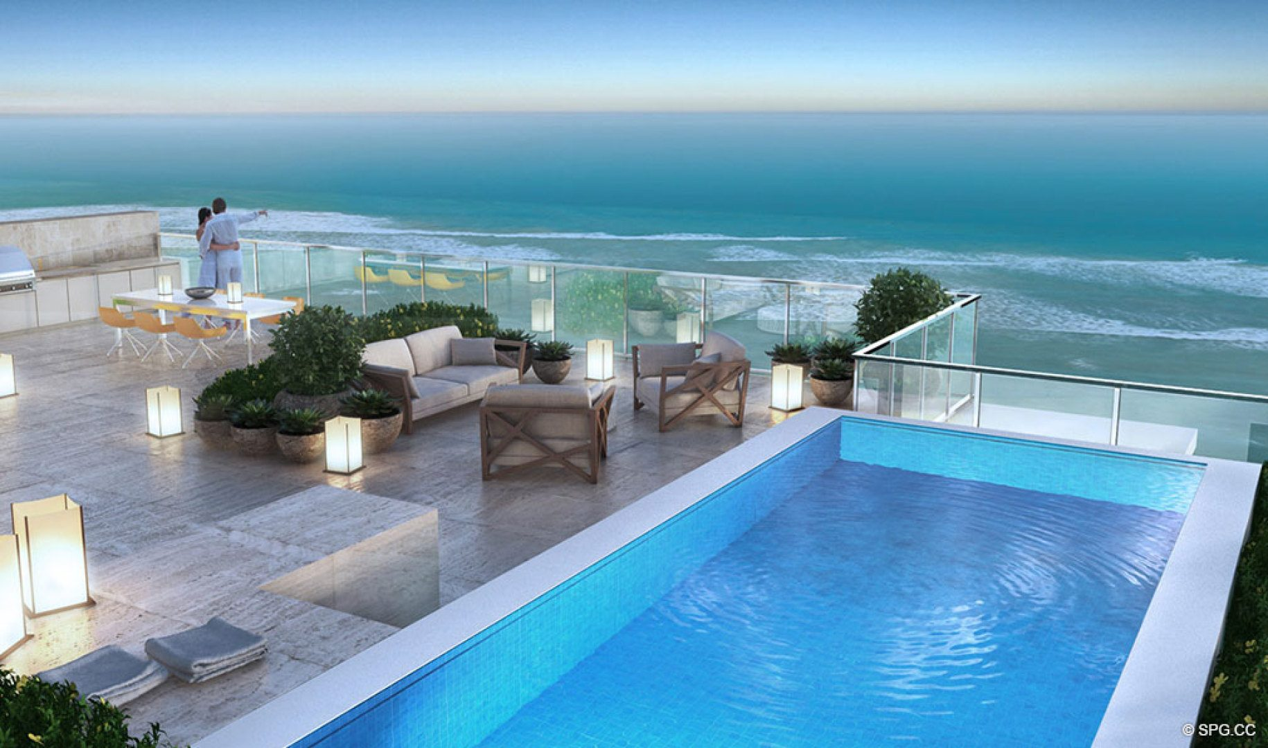 Private Rooftop Pool and Terrace at Sage Beach, Luxury Oceanfront Condos in Hollywood Beach Florida 33019